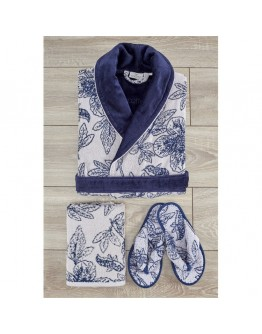 Ecocotton - Lotus Damen Bademantel Set Marineblau