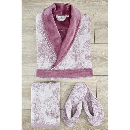 Ecocotton - Lotus Damen Bademantel Set Pulver