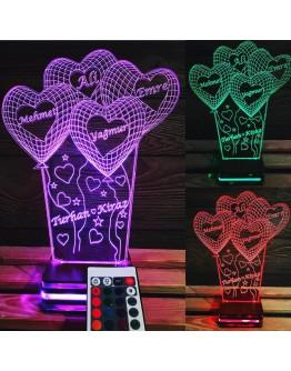 Personalisiertes LED Nachtlicht 3D mit 4  Herzen und Schriftzügen