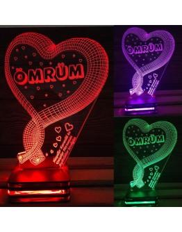 Personalisiertes LED Nachtlicht 3D mit Herz und Schriftzug