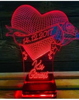 Personalisiertes LED Nachtlicht 3D mit Herz & Rose und Schriftzug
