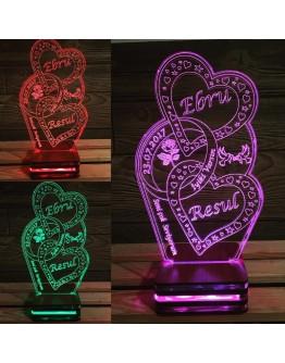 Personalisiertes LED Nachtlicht 3D mit 2 Herzen & Ring und Schriftzug