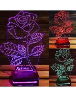 Personalisiertes LED Nachtlicht 3D mit Rose und Schriftzug