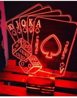 Personalisiertes LED Nachtlicht 3D mit Spielkarten und Würfel