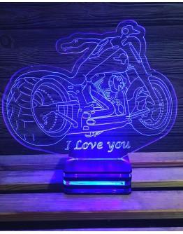 Personalisiertes LED Nachtlicht 3D Motorrad mit Schriftzug