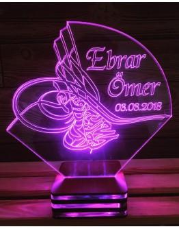 Personalisiertes LED Nachtlicht 3D Osmanli Turasi mit Schriftzug
