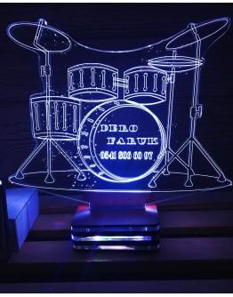 Personalisiertes LED Nachtlicht 3D Schlagzeug mit Schriftzug