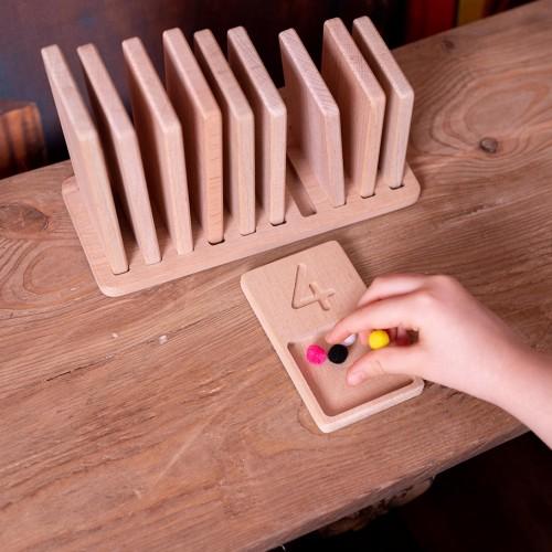 Zähltabletts aus Holz   Montessori Lernspielzeug für Kinder