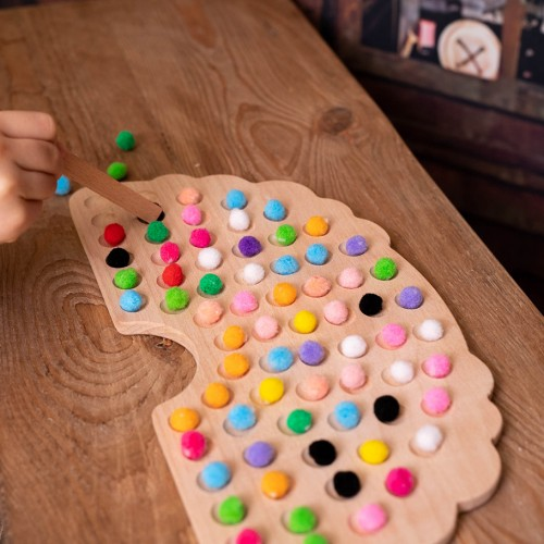 Regenbogenbrett aus Holz | Montessori Lernspielzeug für Kinder