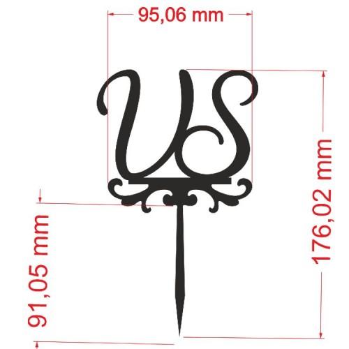Plexi Spiegel Gravur & Zuschnitt mit personalisierten Initialen und Design 20x20 cm