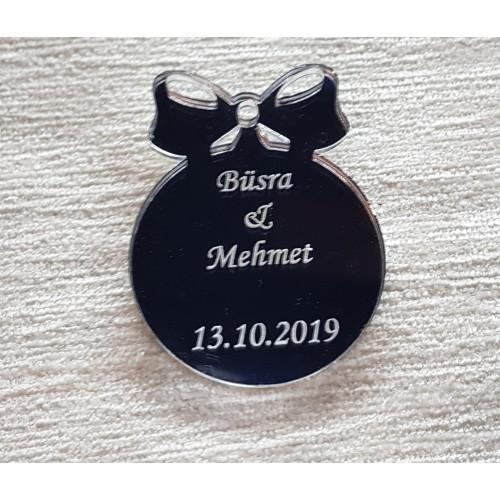 """Plexi Spiegelglas Gastschenke """"Kreis mit Schleife"""" mit Schriftzug (Gravur)"""