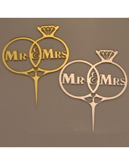 Cake Topper Eheringe Mr & Mrs Silber / Gold