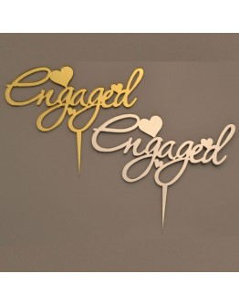 Cake Topper ENGAGED Silber / Gold