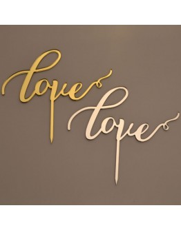 Cake Topper Love Silber / Gold