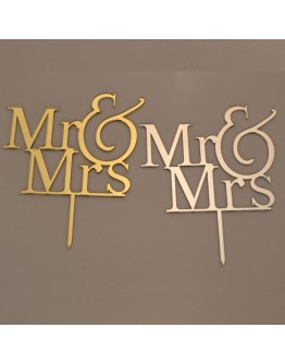 Cake Topper Mr & Mrs Silber / Gold