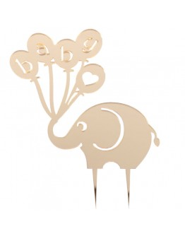 Elefant Baby Thema Cake Topper in Silber / Gold