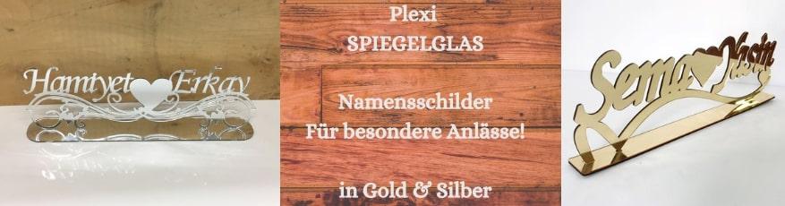 Plexi Spiegelglas Namenschilder